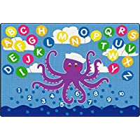 ECR4Kids Olive the Octopus Activity Rug for Children, School Classroom Learning Carpet, Rectangle