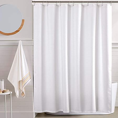 Ruffled Shower Curtain Anti Bacterial Waterproof Repellent Polyester Fabric Bathroom Drapes for Bathroom Tub White