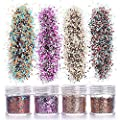 GCOA 12 Boxes Chunky Glitter, Nail Sequins Iridescent Flakes Ultra-thin Tips Colorful Mixed Paillette Festival Glitter For Nail Face Body Hair Makeup,Glitter Nail Decorations
