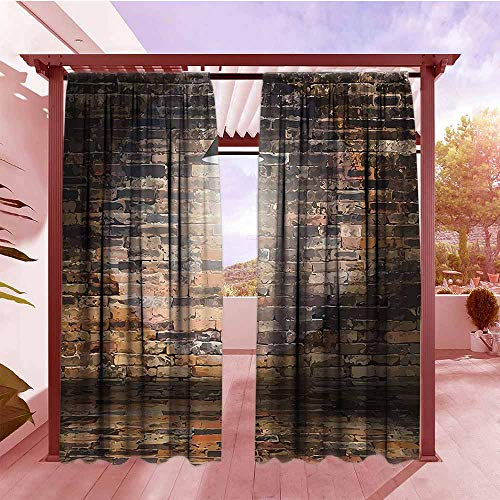 Outdoor Patio Curtains Rustic Home Decor Dark Cracked Bricks Ceiling Lamp Spot Light Life Building Image Room Darkening, Noise Reducing W84x72L Black Red