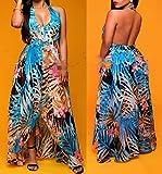 Women-V-Neck-Halter-Floral-Maxi-Skirt-Overlay-Backless-Romper-Playsuit-Jumpsuit