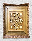 Ambesonne Ornamental Antique Carving Wooden Art Artistic Frame View Decor Wall Decoration Printed Elegance Design Lover Retro Pattern Tapestry Home Designing Decor, Khaki Brown