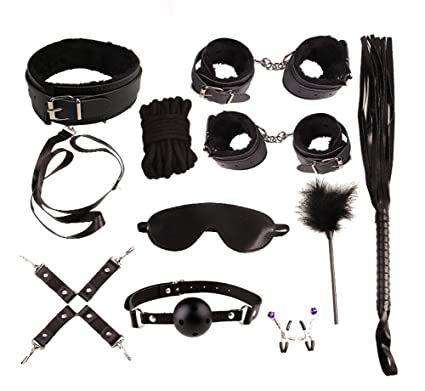 WISHLOL 10 Pack Yoga Adjustable Couple Toy Combination, Role-Playing Props Leather Paddles Supply Straight or Knobbed Whip,Faux Leather Short Horse
