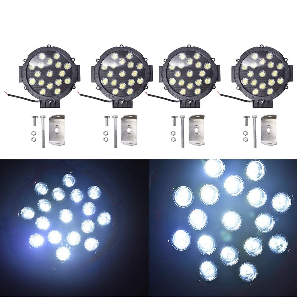7 Inch LED Off Road Work Light Round Red Bumper Driving Lamp Spot Beam Waterproof for Truck ATV UTV RZR Boat Tractor Construction 4 Pack