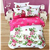 4pcs Bedding Set Duvet Cover Bed Sheet 2 Pillowcase Twin Full Queen King Sweat Series Design (Full,