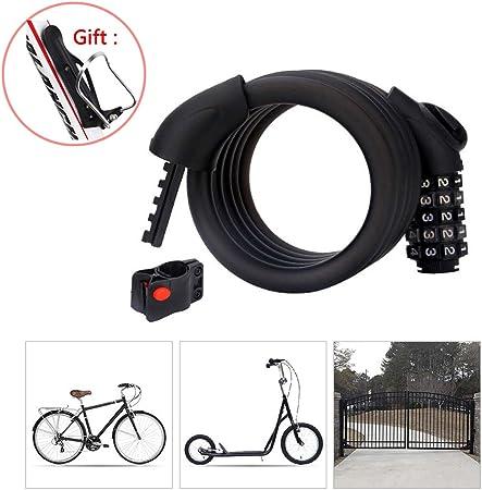 Candado Bici Combinacion con Código de 5 Dígitos,Cadena Bici ...