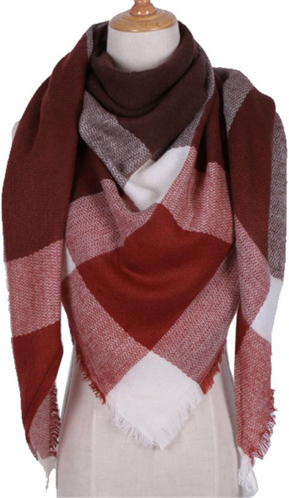 Chic-Dona Winter Triangle Scarf for Women Shawl Cashmere Plaid Scarves Blanket