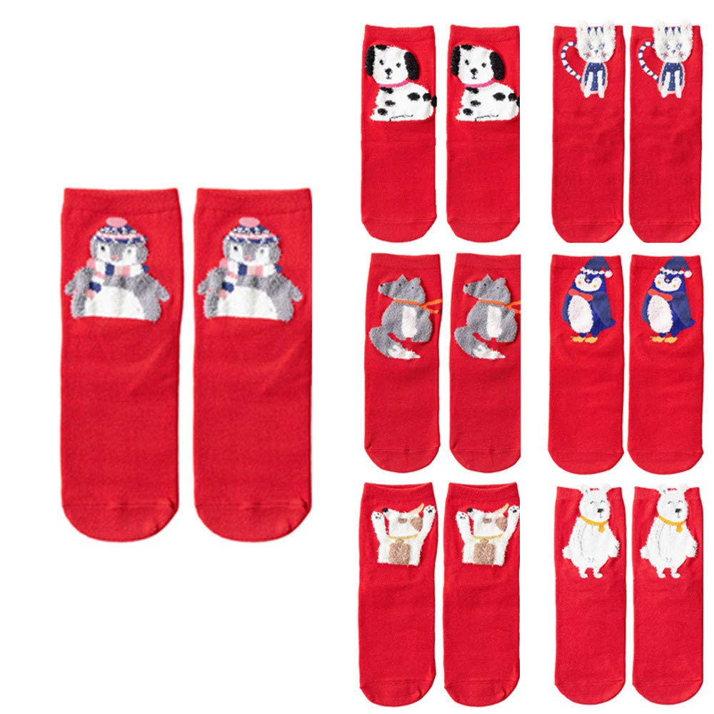 GzxtLTWomen Ankle Socks Casual Socks Red 3D Cartoon Animals Printed Cozy