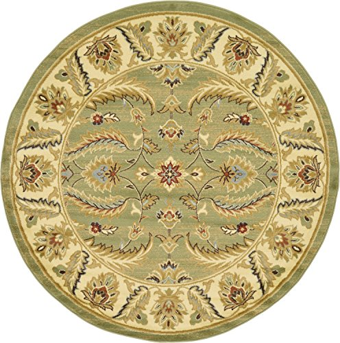Brown Oriental Rug Round (Unique Loom Voyage Collection Traditional Oriental Classic Green Round Rug (6' x 6'))
