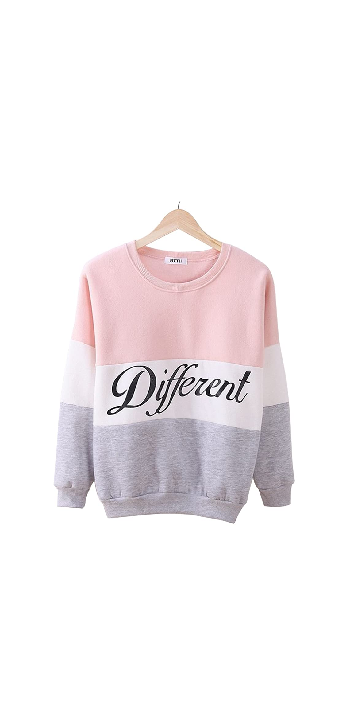 Laisiyi Thin Fleece Different Letter Printed Casual Sweater Mix