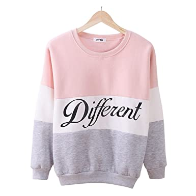 LAISIYI Autumn Fleece Letter Different Print Casual Sweater Mix Color Pullover PinkGray S