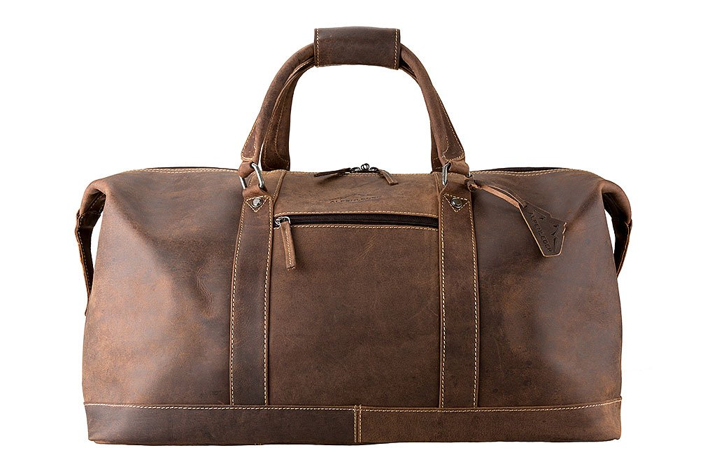 ALPENLEDER Leather Weekend Bag ALABAMA - Design Award Winning Travel Duffel Bags - Weekender Bag for Men - Brown/Coffee by ALPENLEDER
