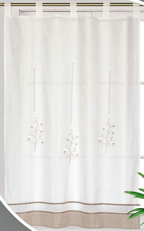 Forentex Pack 2 Cortinas Con Visillo 100X150Cm Para Cocina Bordadas Florales Decorativos Para Ventanas, S-1048,: Amazon.es: Hogar