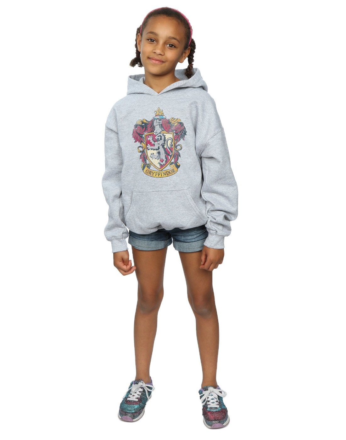 HARRY POTTER Girls Gryffindor Distressed Crest Hoodie 9-11 Years Sport Grey by HARRY POTTER (Image #5)