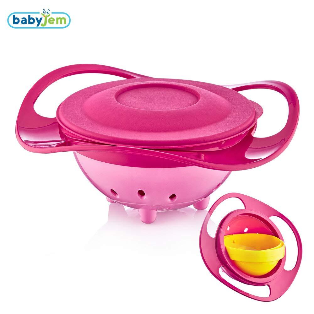 360 /° Drehung Spa/ß Babynahrungssch/üssel BPA frei Rosa Farbe Babyjem Versch/üttete Platte Mit Deckel Sicher und fu