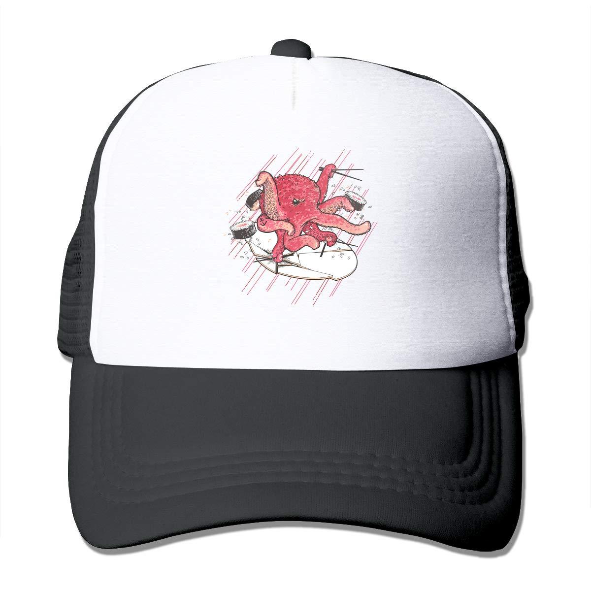 8e1da9ce0d641 Nacho Sushi Trucker Hat Snap Back Sun Mesh Baseball Cap Hip Hop Flat Hats  for Men and Women Black at Amazon Men s Clothing store