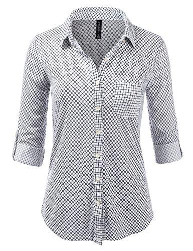 Jj Perfection Womens Long Sleeve Grid Print Button Down Plaid Flannel Shirt Ivory 1Xl