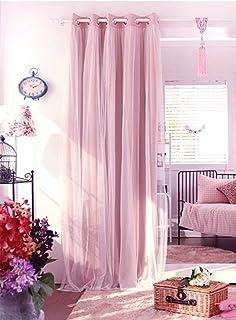 Amilian/® Kinderzimmer Vorh/änge 155 x 155 cm Set mit Schlaufen Baby Gardinen Vorhang Hellrosa//Wigwam Rosa