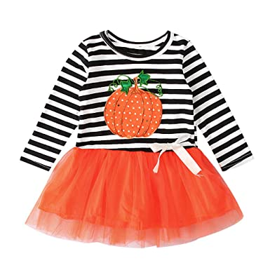 Disfraz Halloween Niña 1-4 años Tutu Vestidos de Calabaza a Rayas ...