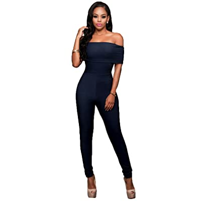 Felicity Young Women's Sexy Bodycon Clubwear Party Long Jumpsuit Romper