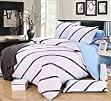 Getmorebeauty Twill Soft Bed Quilt Doona Duvet Cover Set Queen Size (White+Blue)