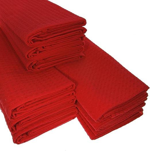 Big Pack. 9 Paños rojos de algodón/suela de piqué/Cocina toalla/paño /manopla/paño de cocina/polvo/de alta calidad/Calidad/absorbente/rojo: Amazon.es: Hogar