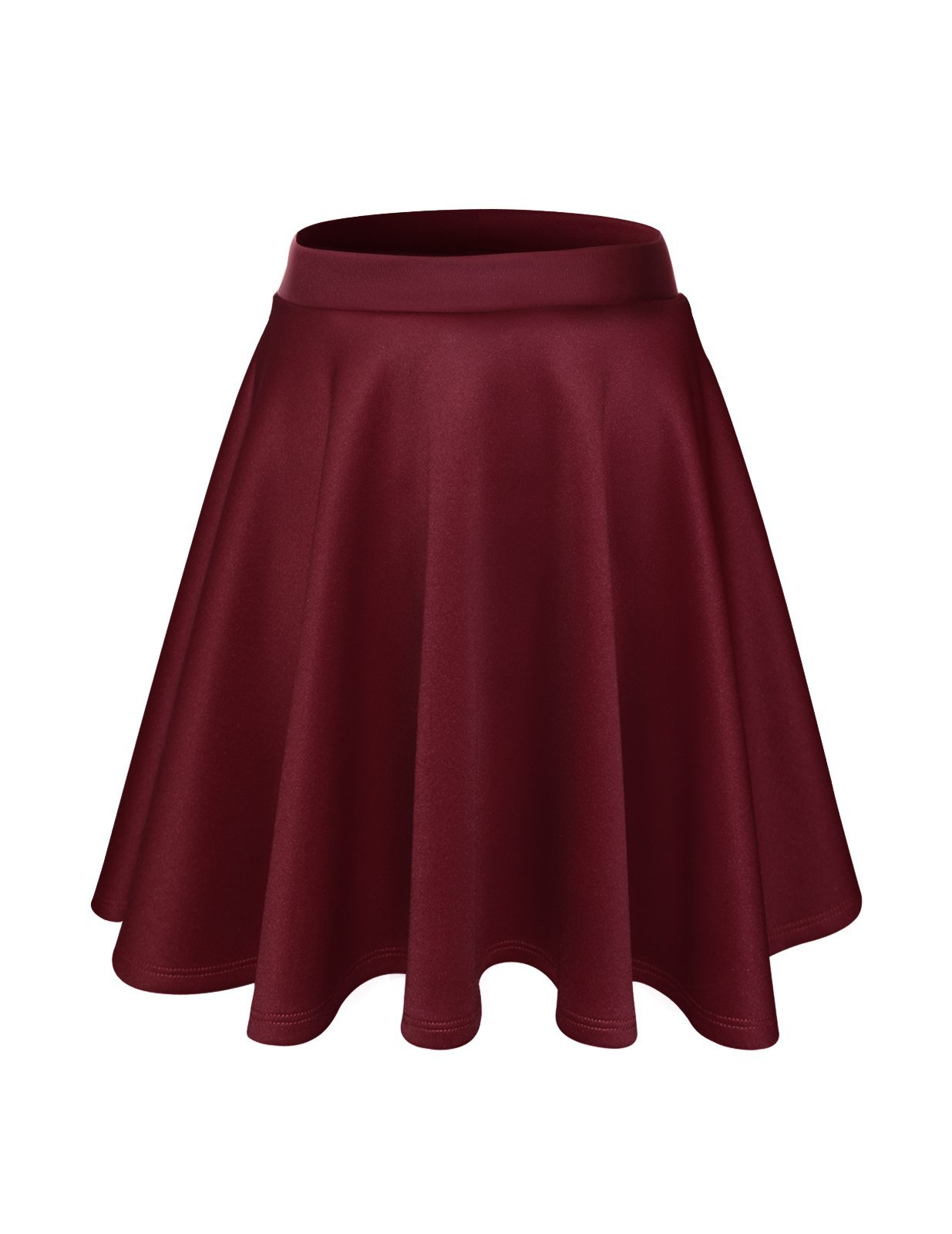 FLATSEVEN Womens Flared Skater Mini Skirt (Made in USA) (WSCX101) Wine, M