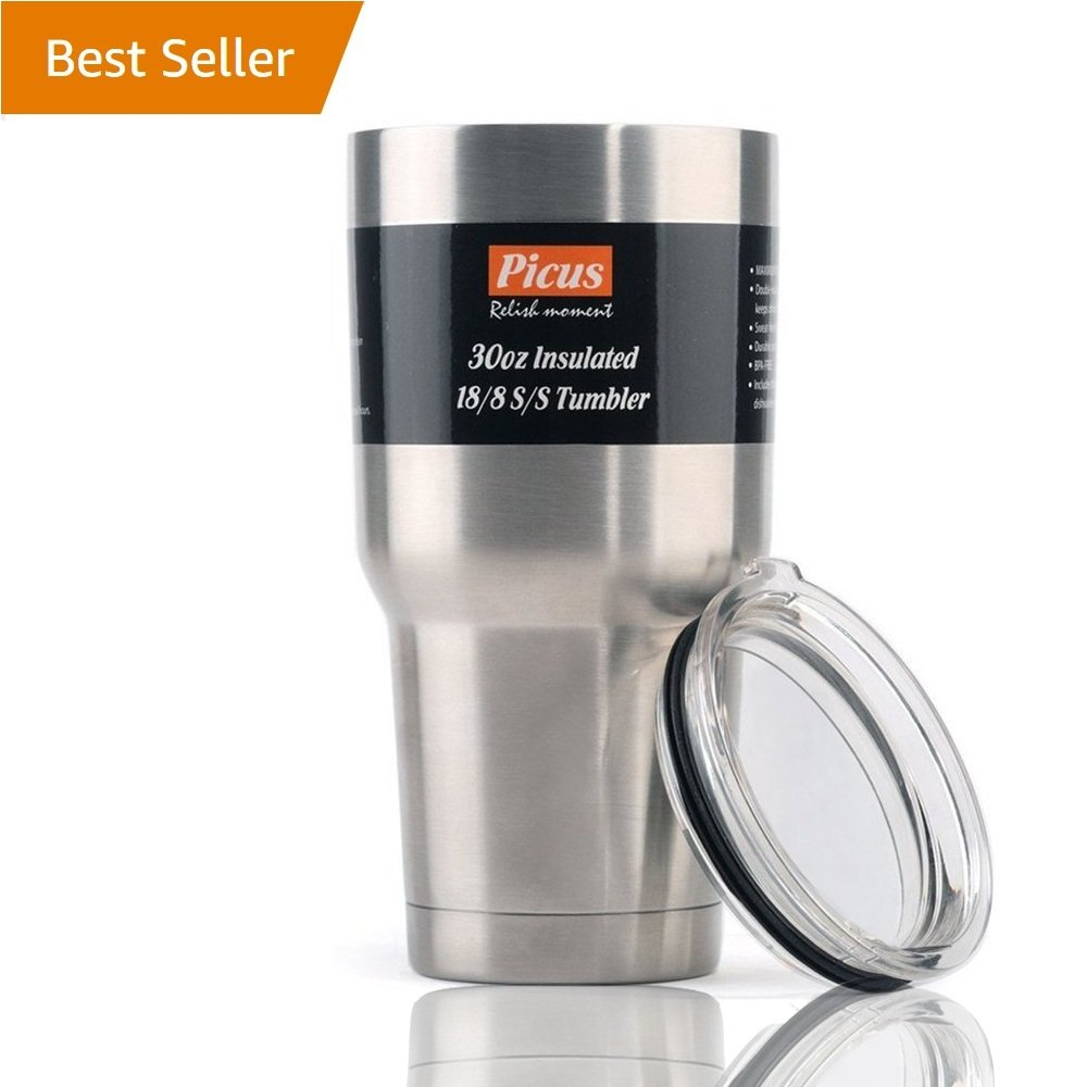 Stainless Steel Tumbler, Picus Double Wall Vacuum Insulated 30 Ounce Tumbler, Cold24H & Hot6H, BPA-Free, Splash-Proof BPA Free Lid, Thermal Coffee Travel Cup, Insulated Coffee Mug
