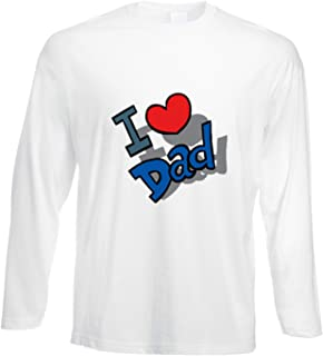 fashwork Tshirt a Maniche Lunghe I Love Dad - Amore - in Cotone by fshlX15