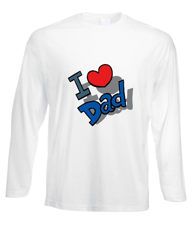 fashwork Tshirt a Maniche Lunghe I Love Dad - Amore - in Cotone by fshlX15