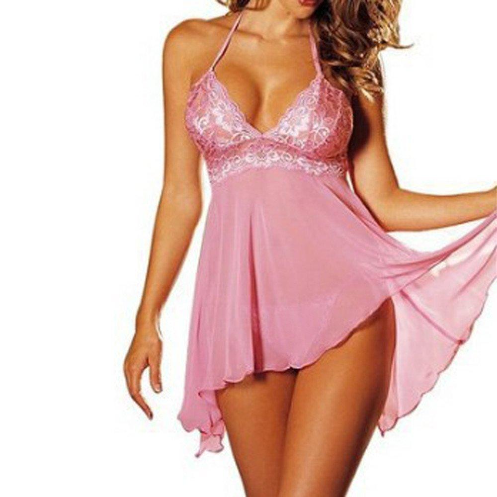 Libermall Plus Size Women Sexy Sheer Sheer Chemise Lace Dress V-Neck Nightgown Bodysuit Babydoll Teddy Sleepwear Pink
