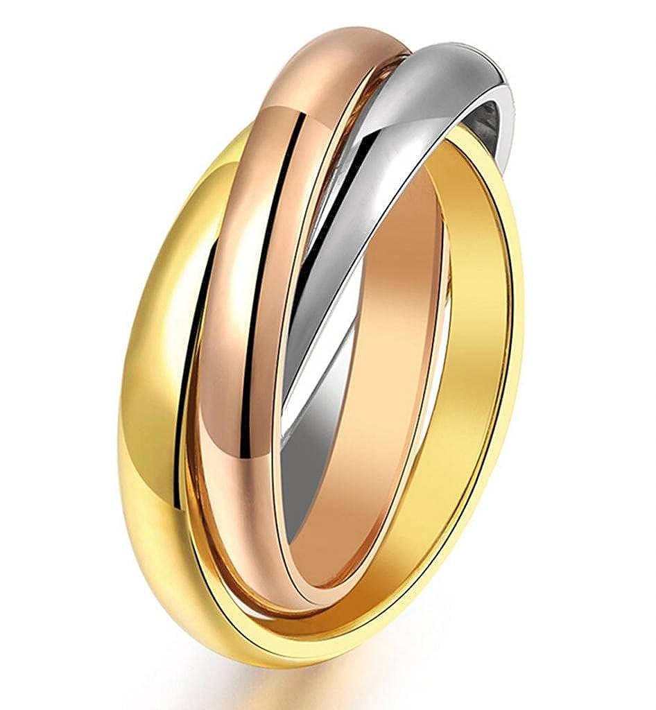 Stayoung Jewellery Moda Acero Inoxidable 3 Colores Anillos Cruz para Mujer/Chica, 4 Opciones de talla