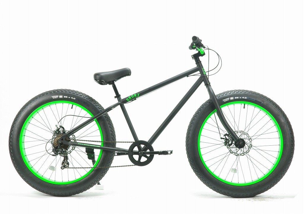 BRONX 26BRONX4.0-DD湘南鵠沼海岸発信 ブロンクスファットバイク7段変速付き B00T1FQ5Z4 ブラック×グリーンリム ブラック×グリーンリム