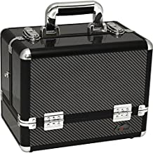 Sunrise C3002ASBY Professional Makeup Cosmetic Beauty Train Case Organizer Craft Storage with 6 Trays Carbon Fiber, 1-Count