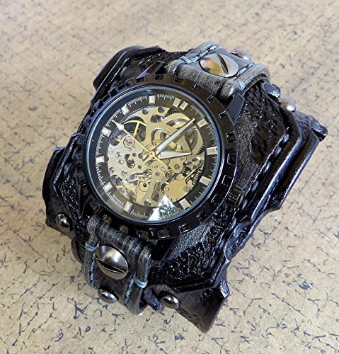 Skeleton Leather Watch, Steampunk Watch Cuff, Men's watch, Leather Wrist Watch, Leather Cuff, Bracelet Watch, Distressed watch strap by Cuckoo Nest Art Studio