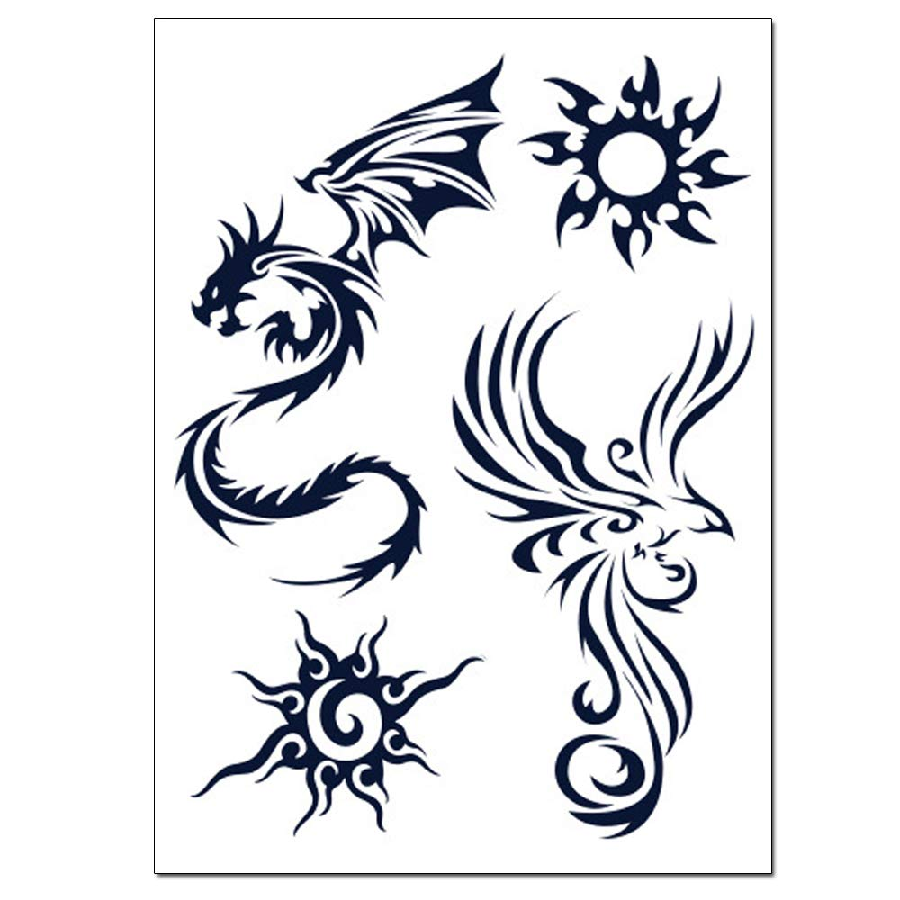glaryyears Semi Permanent Tattoo Sticker — 9 Sheets/Set Temporary Tat Stickers 33 Tattoo Designs Small Size Dragon Words Letters Symbols Love Long lasting Waterproof for Women Men