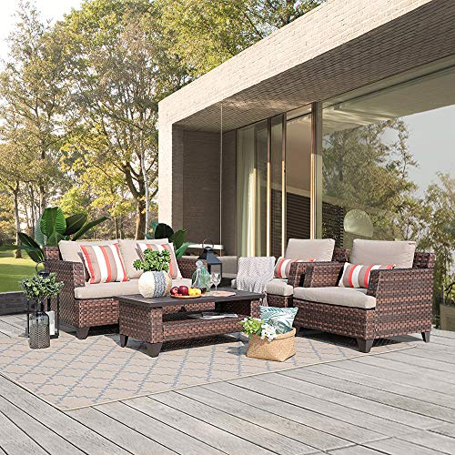 SUNSITT 5-Piece All-Weather Rattan Conversation Set Brown Wicker Outdoor Furniture Sofa Set, Coffee Table w/Aluminum Slatted Top