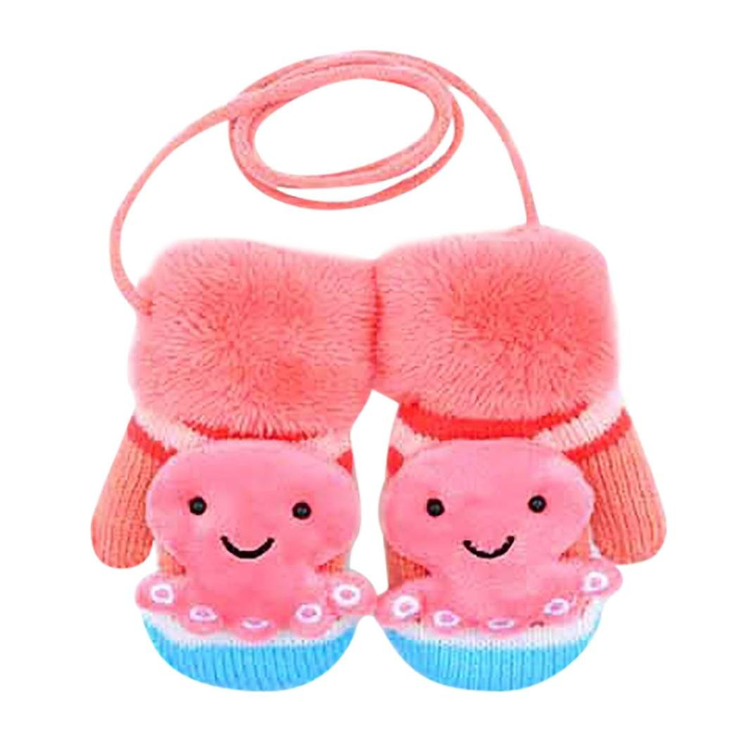 Fulltime®Bébé filles garçons Cartoon mignon épaissir des gants chauds d\'hiver
