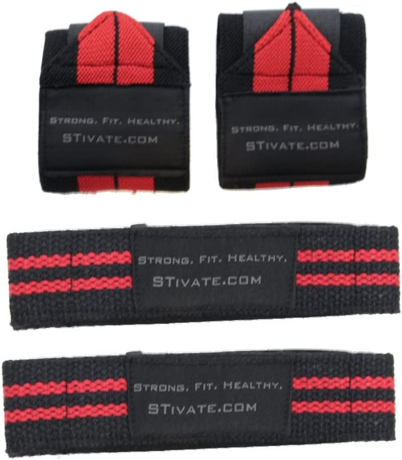 for Wrist Support and Maximum Gripping Strength during Weight lifting and Crossfit Quality Construction Wrist Wraps and Lifting Straps Bundle 2 Pairs for Men and Women HEAmotivation