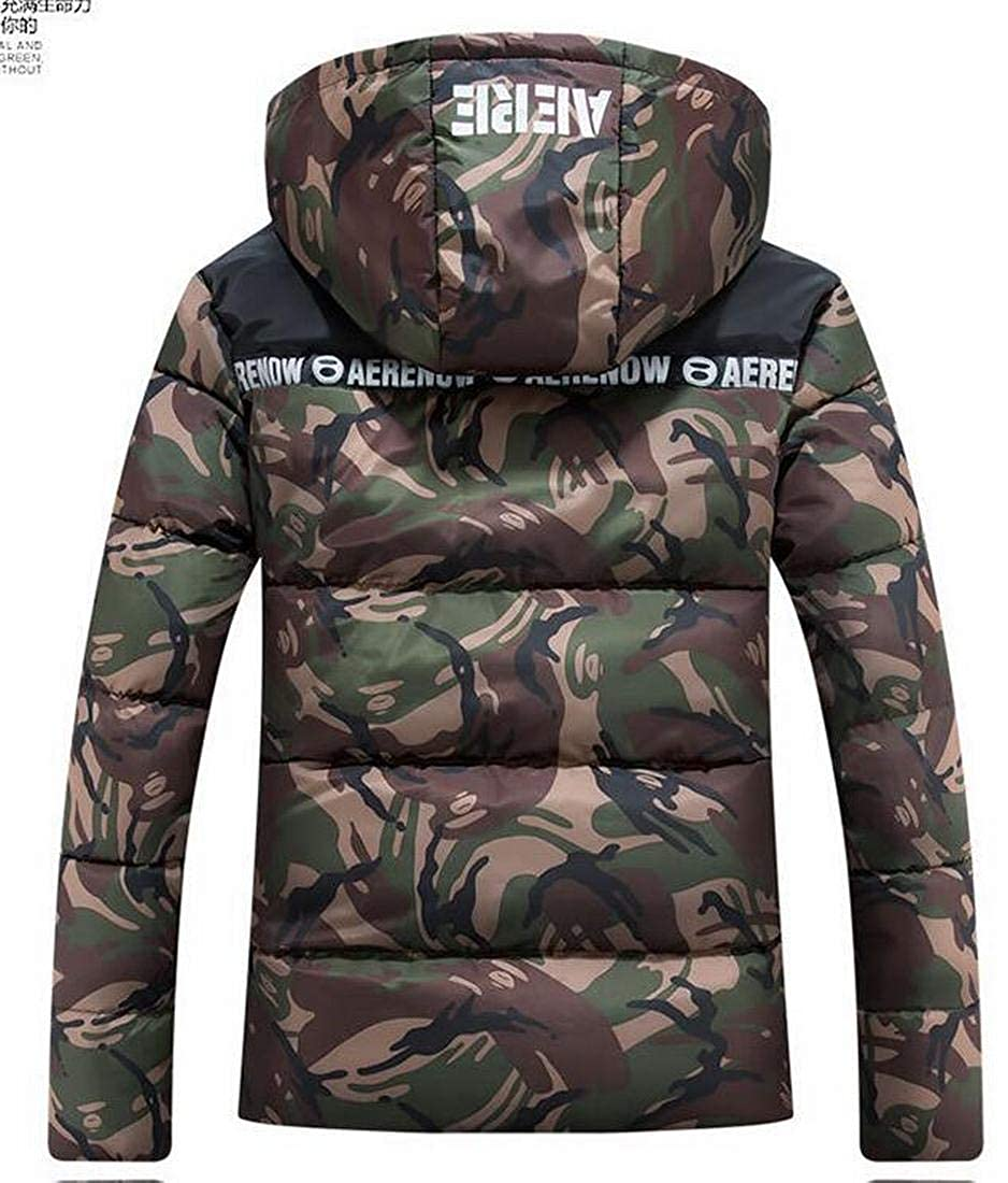 Mstyle Men Plus Size Regular Fit Letter Print Warm Hoodie Winter Camo Print Quilted Jacket Coat Outerwear