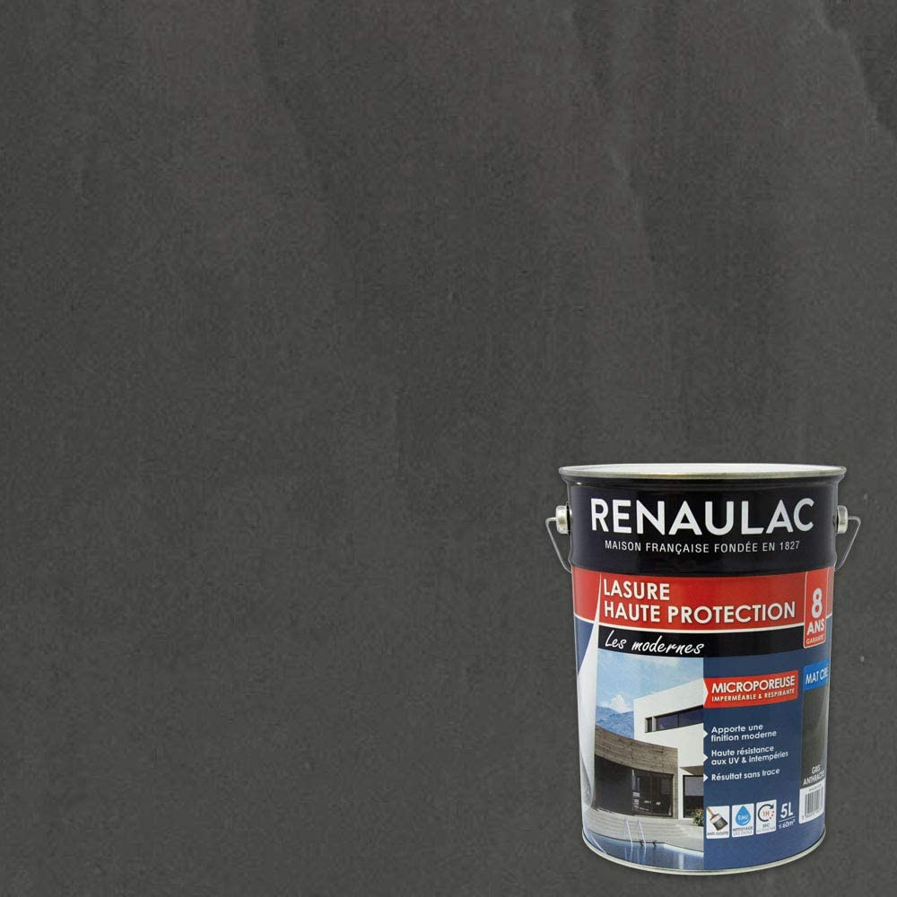 HOME TENDANCE by Renaulac Lasure haute protection 5 L gris anthracite mat