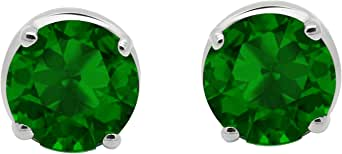 2.00 Ct Emerald Gemstone Round Shape Solitaire Stud Earring In 10K White Gold For Christmas