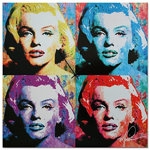 Pop Art Clock 'Marilyn Monroe Clock' - Pop Culture Decor - Vibrant, Multicolor Abstract Urban Wall Clock - Colorful Glossy Metal Wall Clock