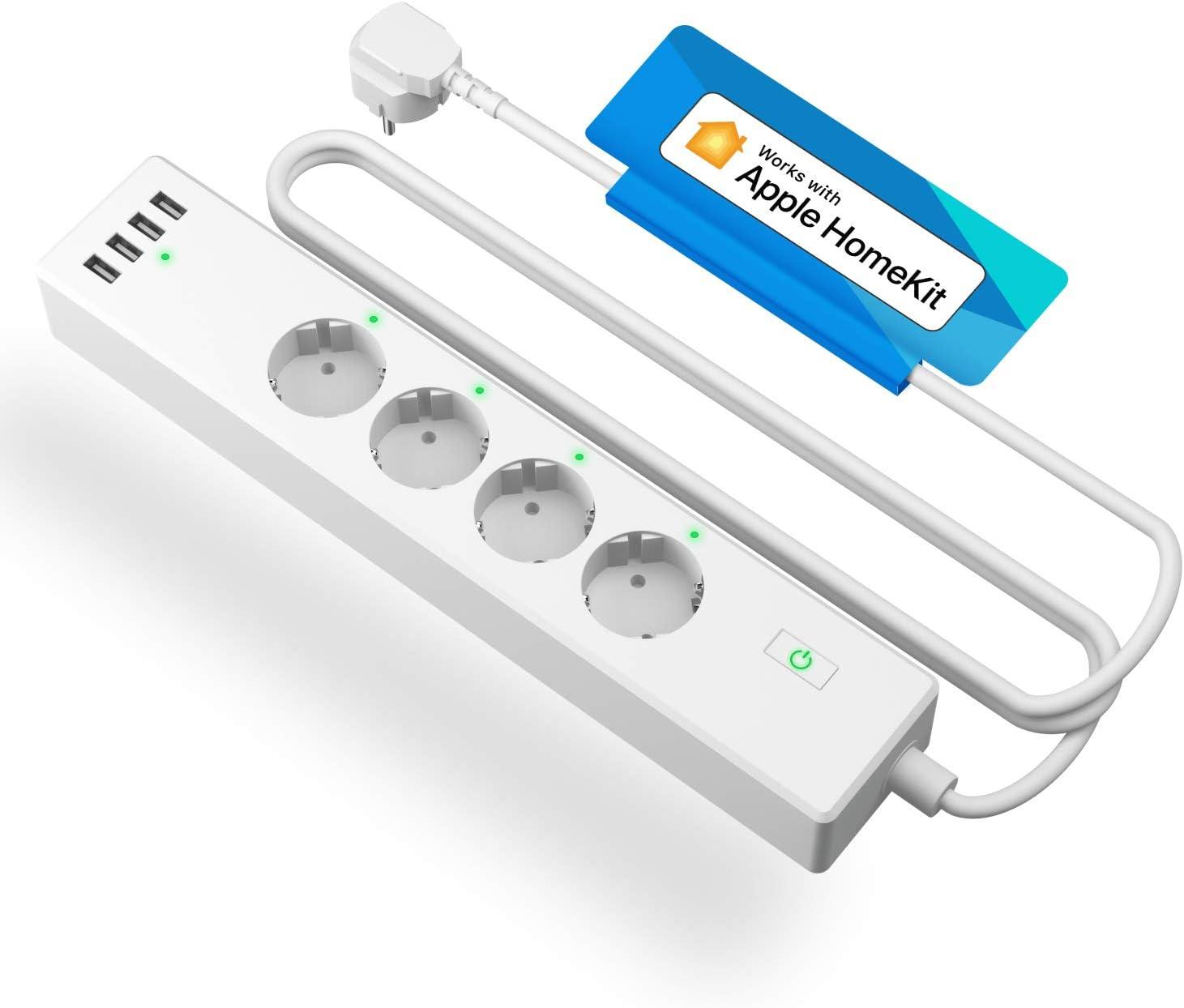Multiprise Connectée HomeKit (Type F), Multiprise Intelligente Compatible avec Apple HomeKit, Siri,...