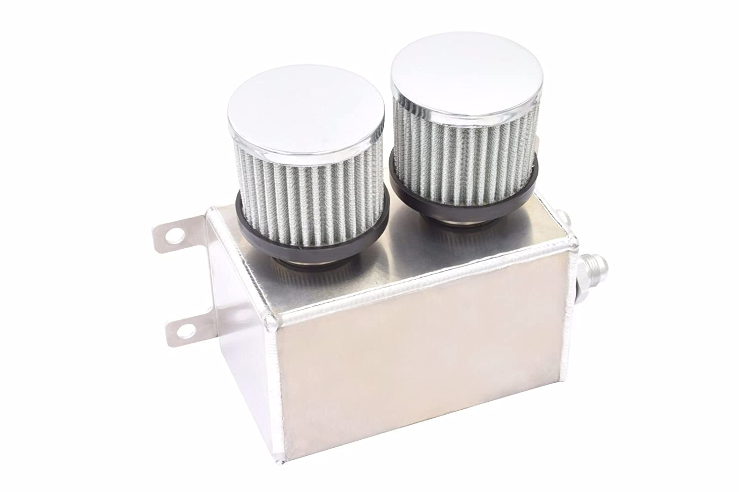 1200ml 1.2L Twin Baffle Dual Filter Engine Oil Catch Can Tank Reservoir AN8 (Polished) CHAOQIAN