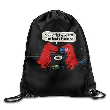 c7f2280ed7a0 Amazon.com: DINO LAST UNICORN Funny Drawstring Backpack Cool ...