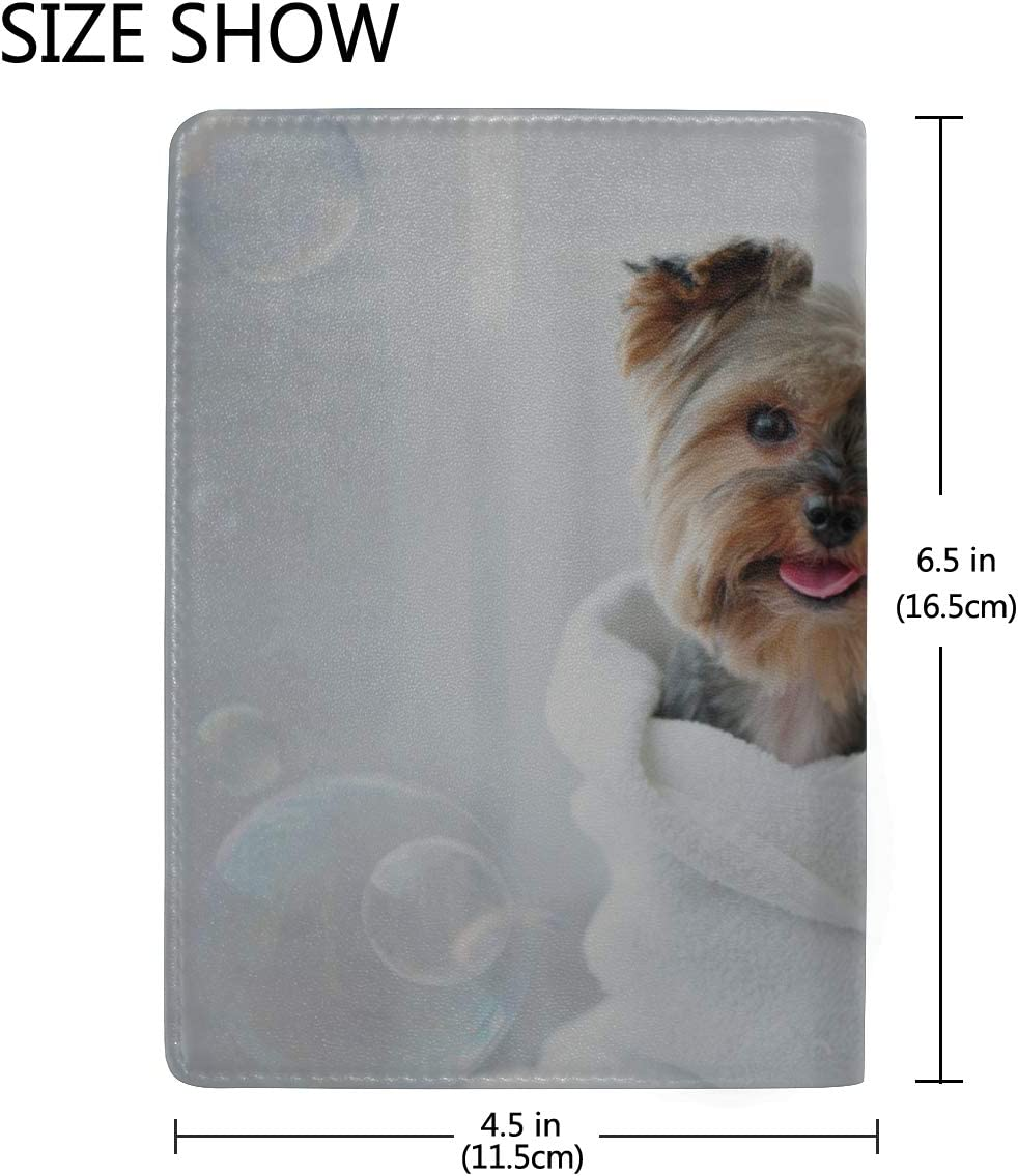 Dog Take A Shower With Soap And Water Blocking Print Passport Holder Cover Case Travel Luggage Passport Wallet Card Holder Made With Leather For Men Women Kids Family
