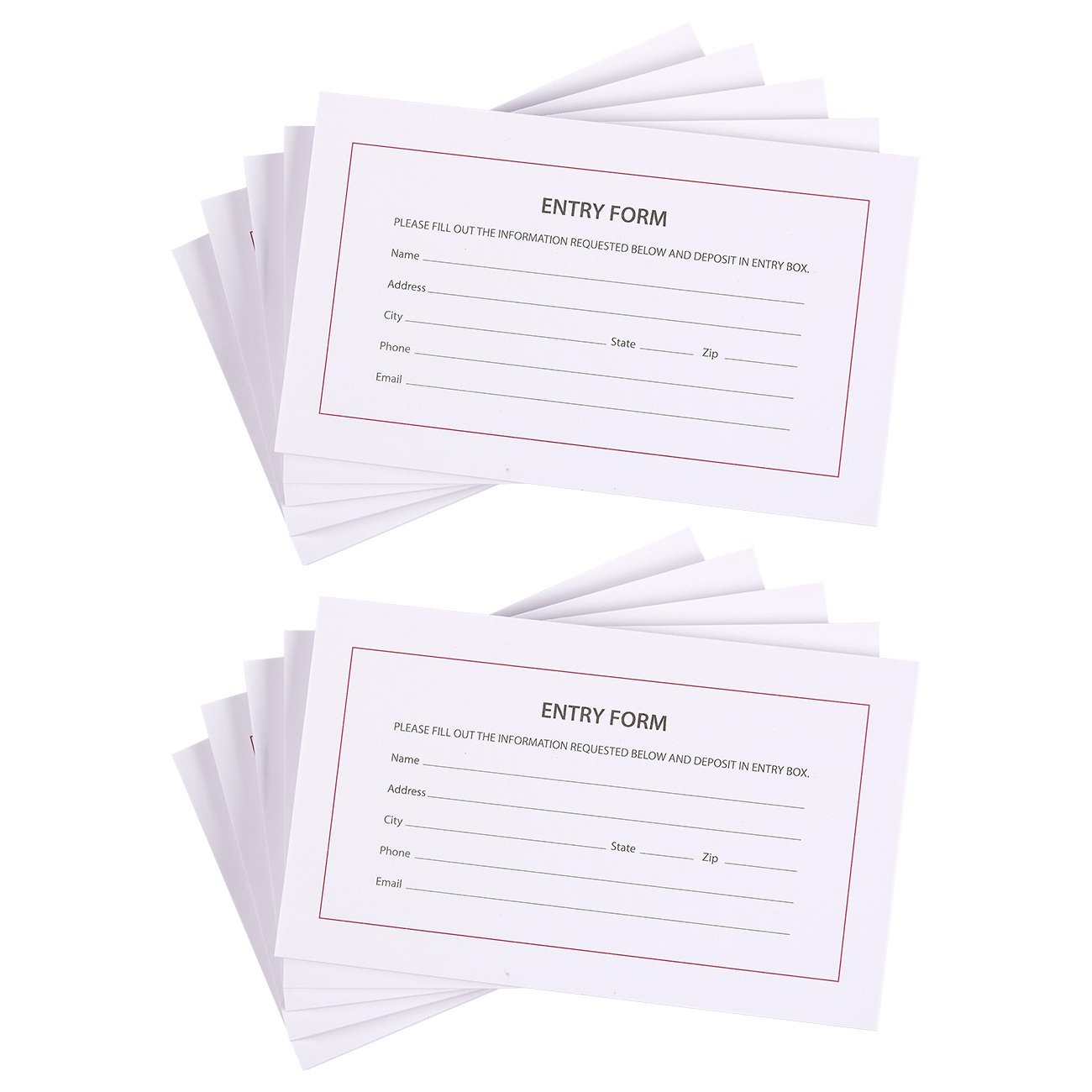 Blue Panda 10-Pack Entry Form Pads, 100 Sheets Per Pad - Entry Cards for Contests, Raffles, Ballots, Drawings, 6.2 x 3.7 Inches