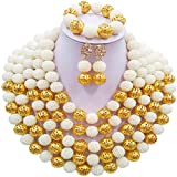 aczuv Big Necklace 5 Rows Simulated Pearl Beaded African Beads Jewelry Set Wedding Bridal Jewelry Sets