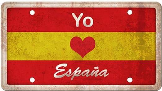 Matricula Decorativa 30,00 cm x 15,00 cm Yo Amo España | Decoración Pared | Aluminio 3 mm resistente: Amazon.es: Hogar